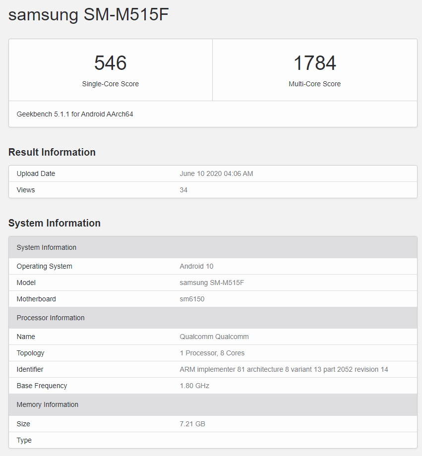 Galaxy M51 Geekbench Listing
