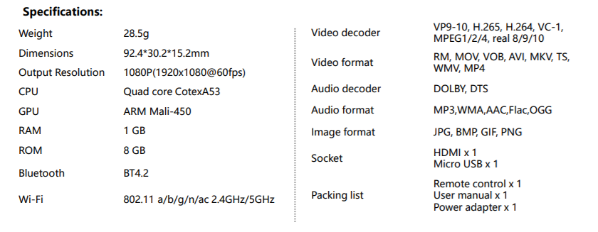 Xiaomi Mi TV Stick Official Specs Sheet Outed Ahead Of  Unveiling