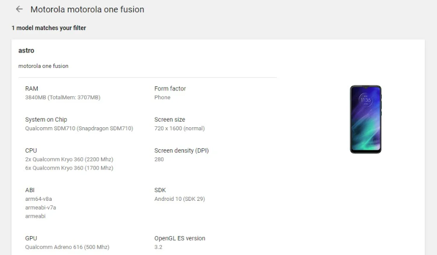 Motorola One Fusion Appears On Google Play Console Revealing Key Specs