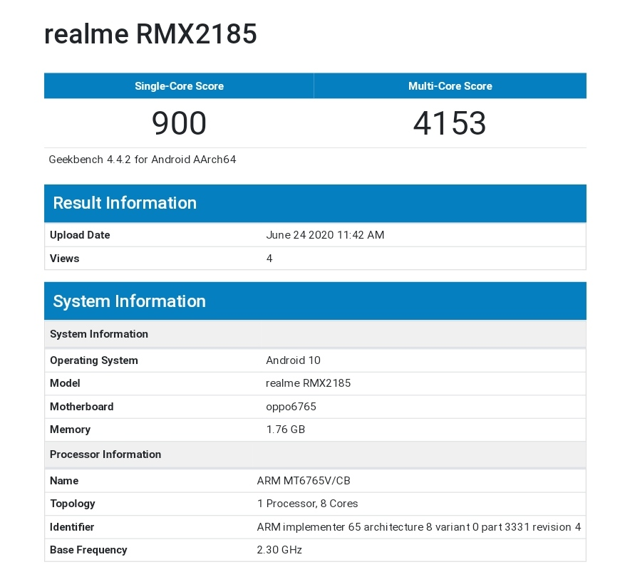 Realme C11 Benchmarked On GeekBench With 2GB Of RAM