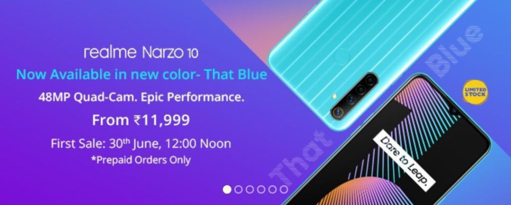 Realme Narzo 10 Arrives In 'That Blue' Color Variant; Sale Starts From June 30