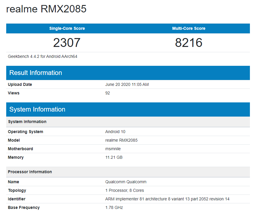 Realme X3 Spotted On GeekBench With 12GB RAM, Chipset Confirmed By Realme