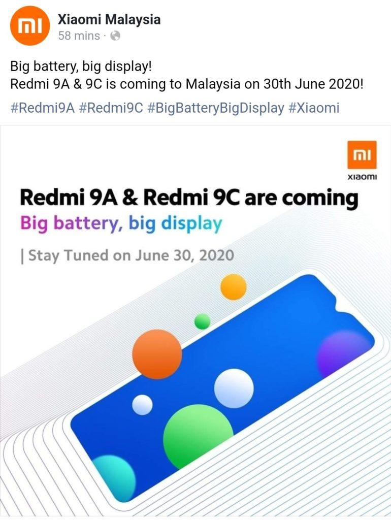 Redmi 9A and Redmi 9C Will Launch On June 30 In Malaysia