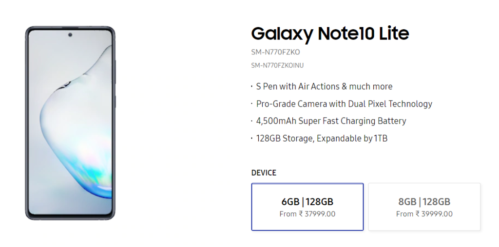 Samsung Galaxy Note 10 Lite Gets Price Cut In India; Available For As Low As ₹32,999(~$432)