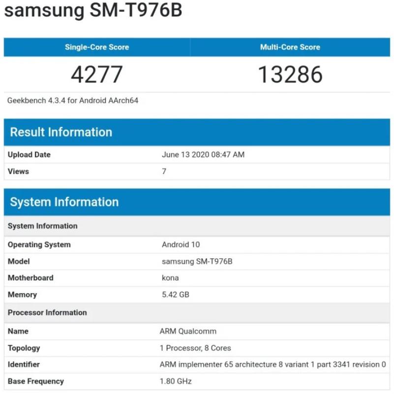 Samsung Galaxy Tab S7+ Hits GeekBench With Snapdragon 865 SoC