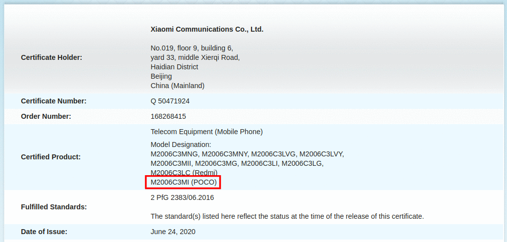 A New Poco Phone Certification Suggests That It Will Be a Rebranded Redmi 9C