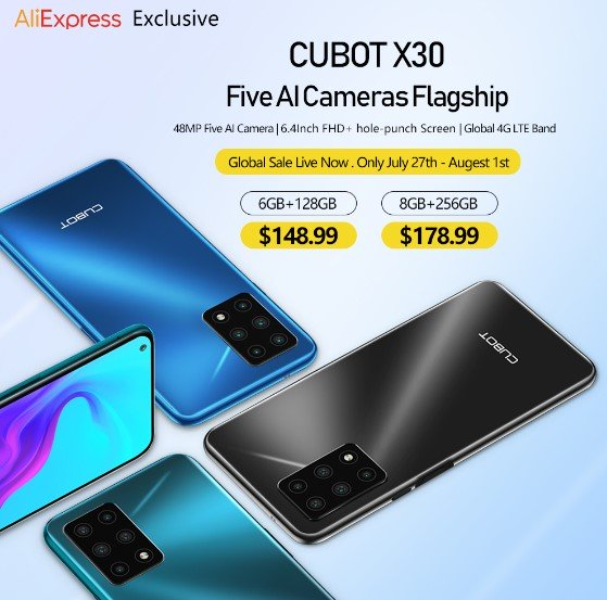 Cubot X30 With Penta-lens Camera and Up To 8GB RAM Goes On Sale Globally; Starts at Just $148.99