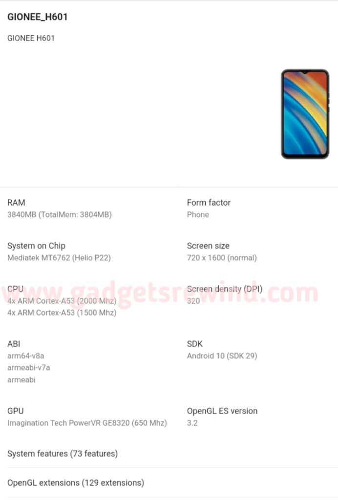 Gionee H601 Entry-level Smartphone Listed On Google Play Console