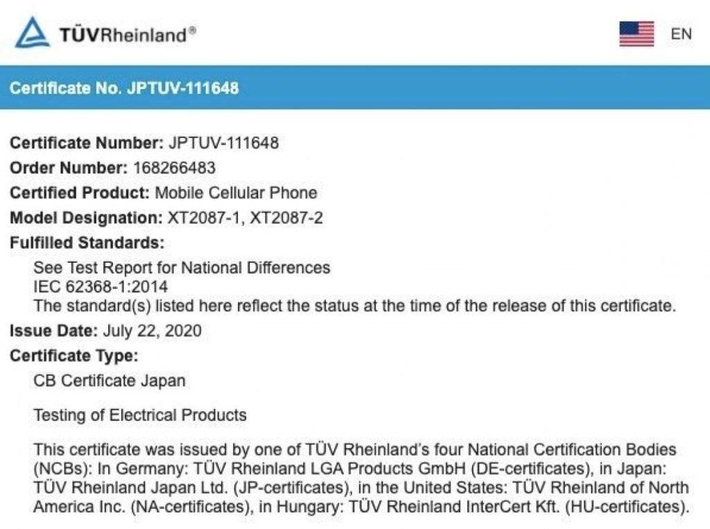 Motorola G9 Plus Gets Certified On TUV Rheinland