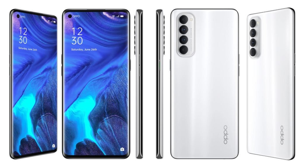 Oppo Reno4 Pro Front and Side Profiles Surfaced In Silky White and Starry Night Finishes