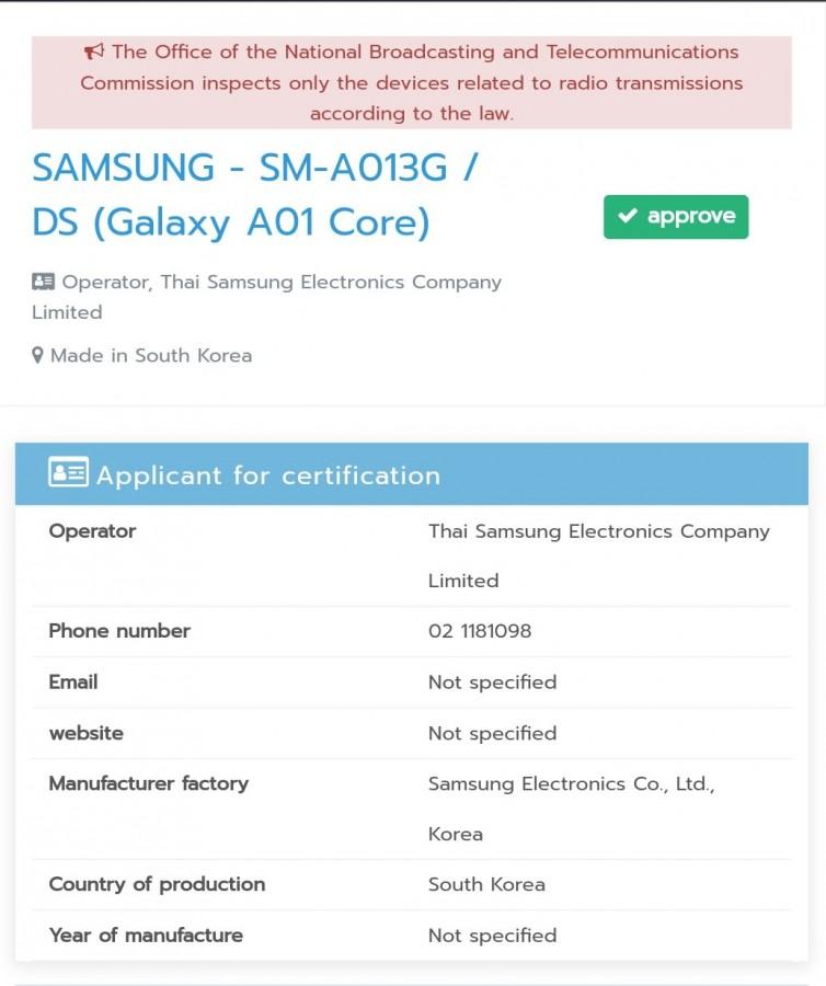 Samsung Galaxy A01 Core Hits Thailand's NBTC Certification