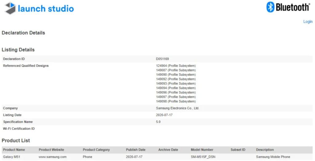 Samsung Galaxy M51 Gets Certified On Bluetooth SIG