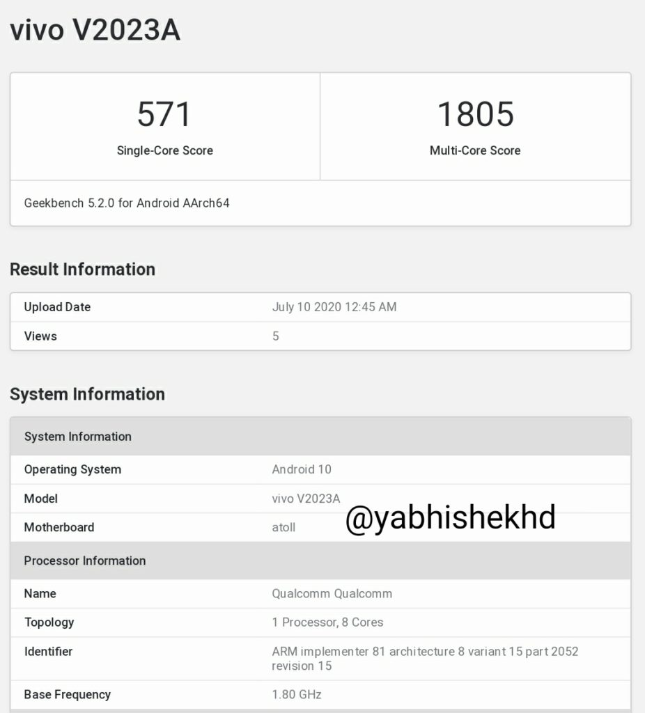 Vivo V2023A Appears On GeekBench Running Android 10