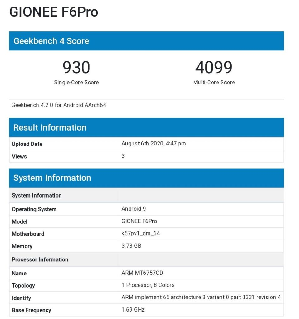 Gionee F6 Pro With Dated Helio P25 SoC and 4GB of RAM Appears Online