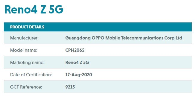 Oppo Reno4 Z 5G Spotted In Another Certification; Launch Nearing!