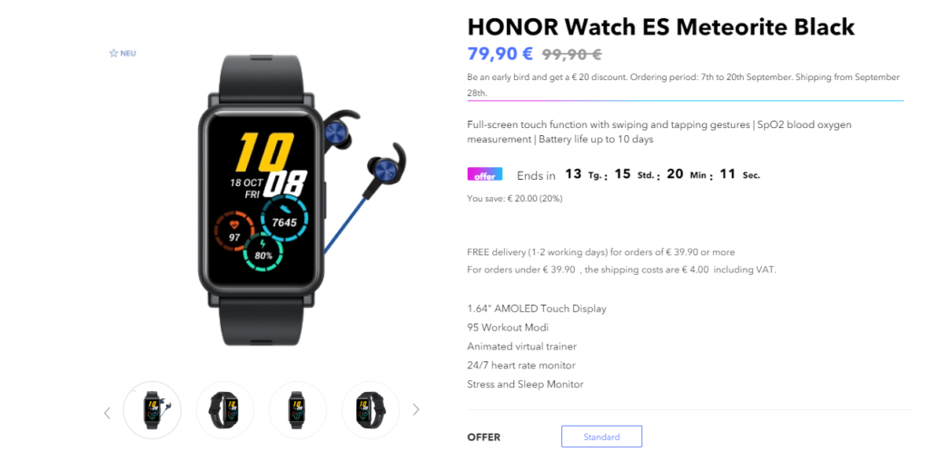 Honor Watch ES Goes Up For Pre-Orders at EUR 20 Discount