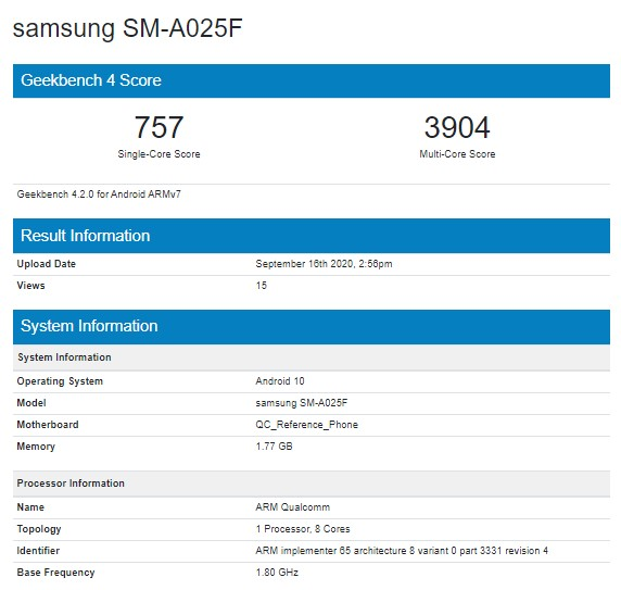 Samsung Galaxy A02 Appears On Geekbench With Snapdragon 450 SoC