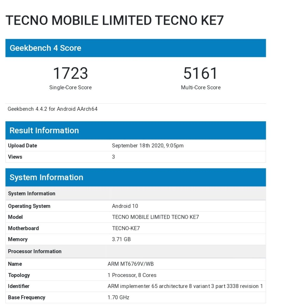 Tecno Spark 6 GeekBench Certification Reveals Helio A25 SoC