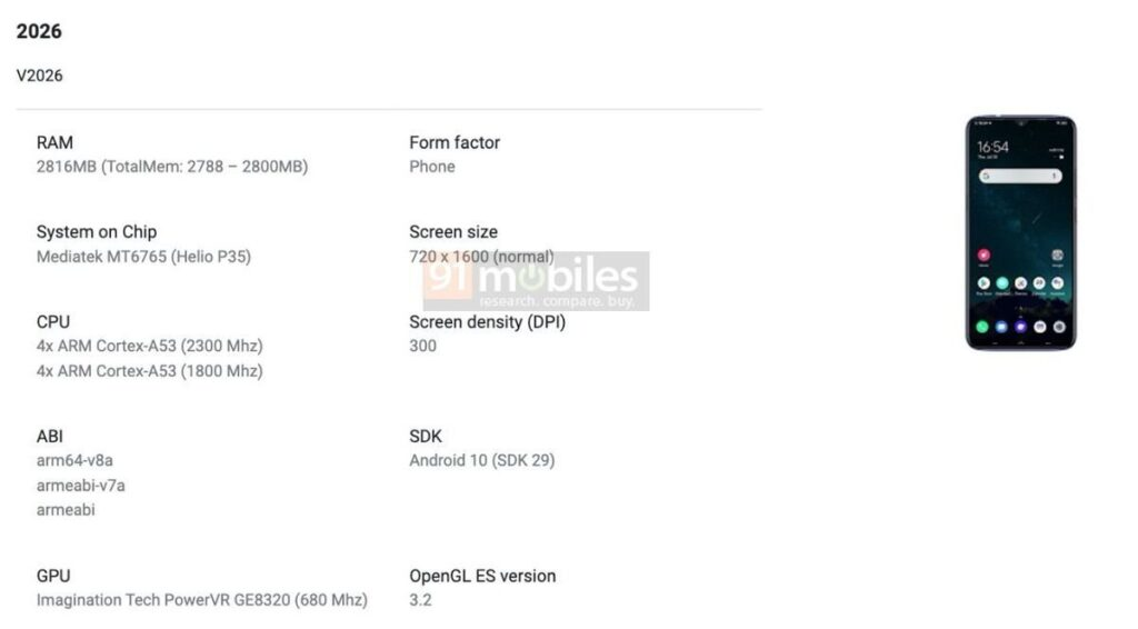 Vivo Y12s Spotted On Google Play Console With Helio P35 SoC