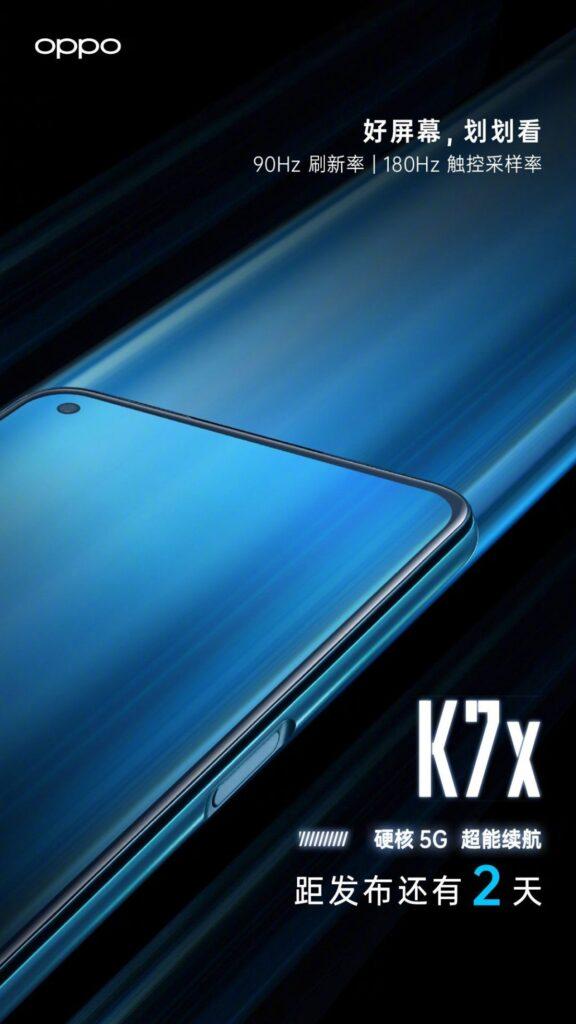 Oppo K7x Fresh Teaser Reveals a 90Hz Punch-hole Display