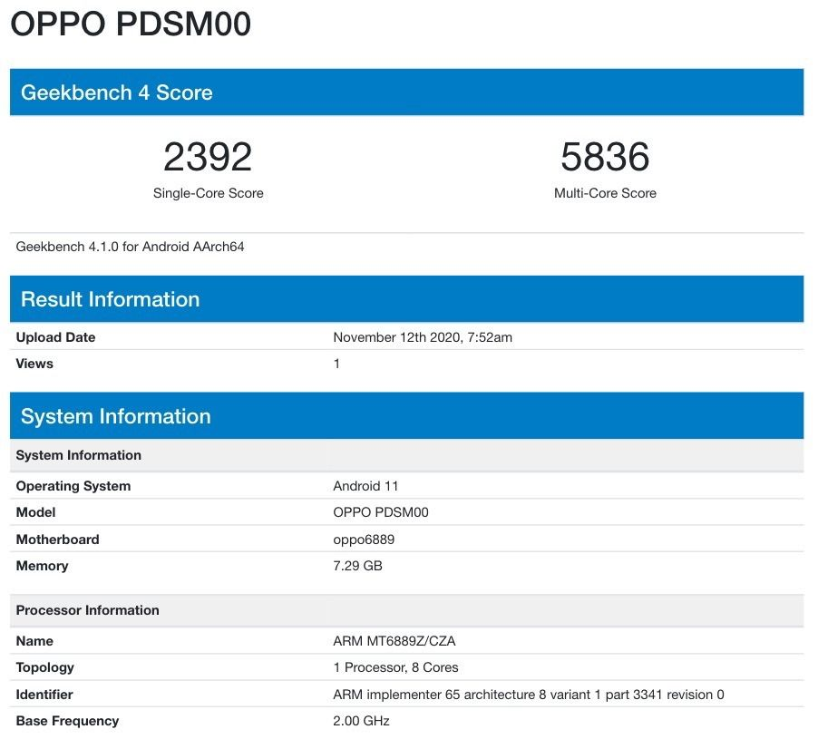 Oppo PDSM00 Hits Geekbench With Dimensity 1000+ SoC; Is It The Upcoming Reno5 Pro?
