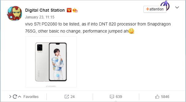 Vivo S7t To Fuel Dimensity 820 Chipset; Launch Imminent