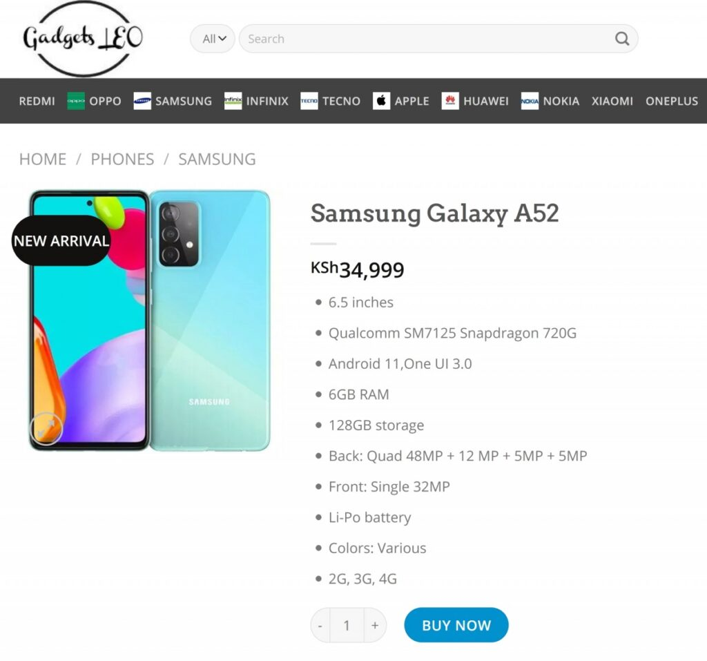 Samsung Galaxy A52 Yet Again Listed On a Retailer Website
