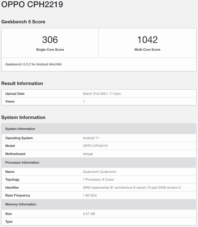 Oppo A74 4G Appears on Geekbench with 6GB of RAM